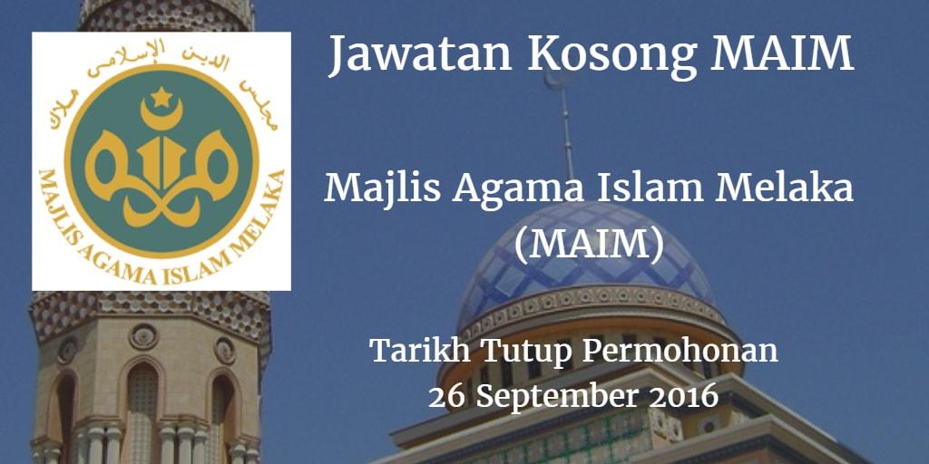 Jawatan Kosong MAIM 26 September 2016