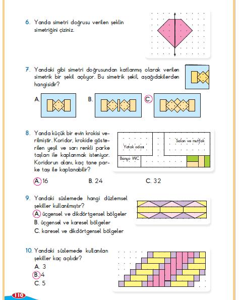 3. Sınıf Berkay Yayınları Matematik Ders Kitabı 110. Sayfa Cevapları Alan Bölüm Değerlendirmesi