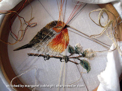 Thread painting thread parking. (Robin by Trish Burr (Inspirations))