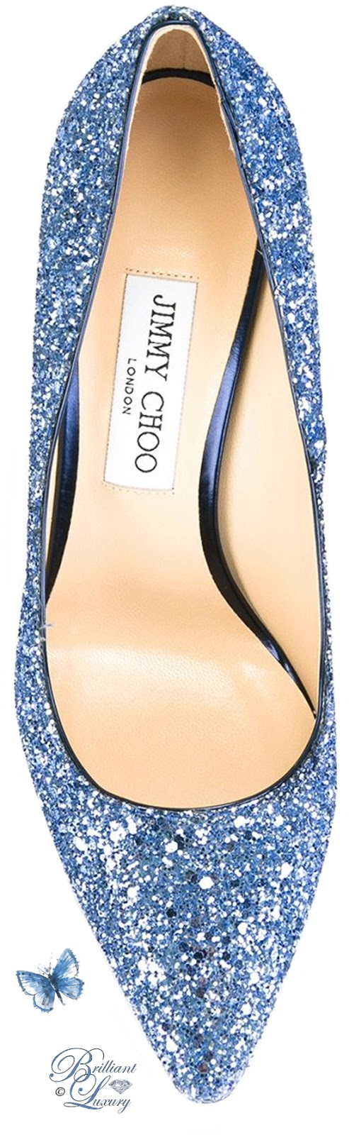 Brilliant Luxury ♦ Jimmy Choo blue glitter Romy Pumps