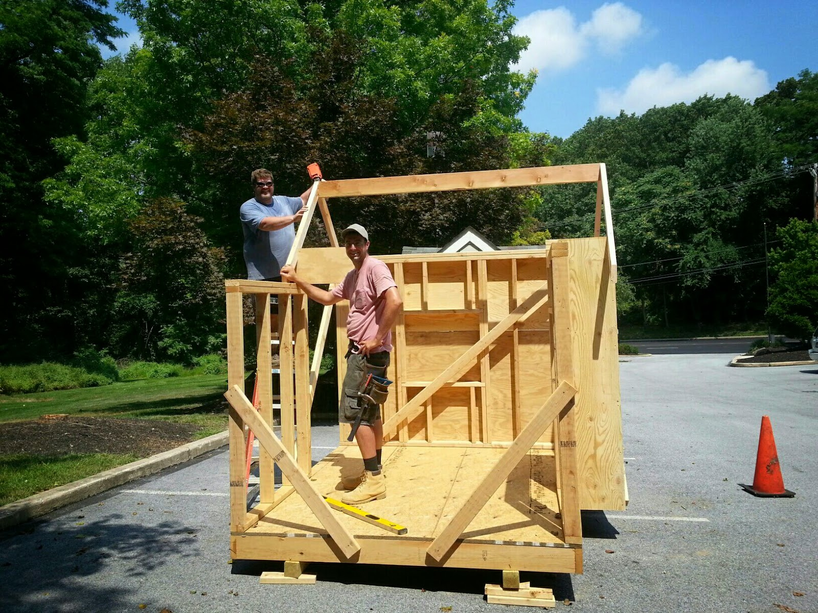 Pohlig employees John Lyon and Dave Monk are hard at work building these fantastic playhouses.  Enter to win today!