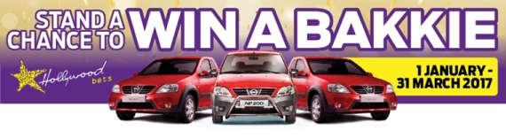 Win A Bakkie at Hollywoodbets - 1 January to 31 March 2017