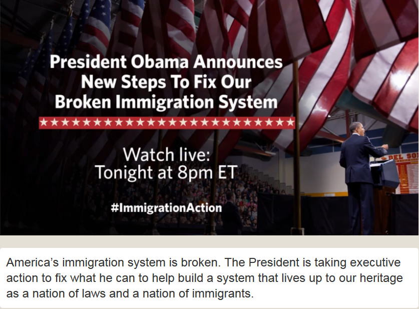 America's immigration system is broken. The President is taking executive action to fix what he can to help build a system that lives up to our heritage as a nation of laws and a nation of immigrants.