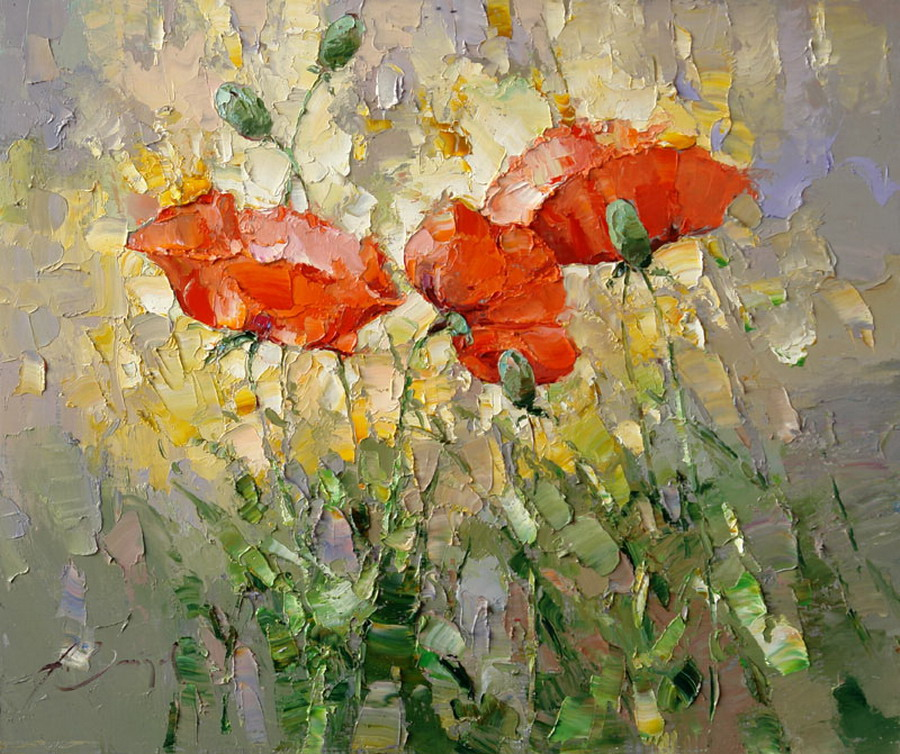 enseguida les comparto cuadros modernos que con cada espatulada el artista le va dando forma y color a cada una de sus pintorescas y sencillas flores rojas