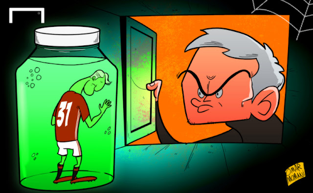 Schweinsteiger and Mourinho cartoon