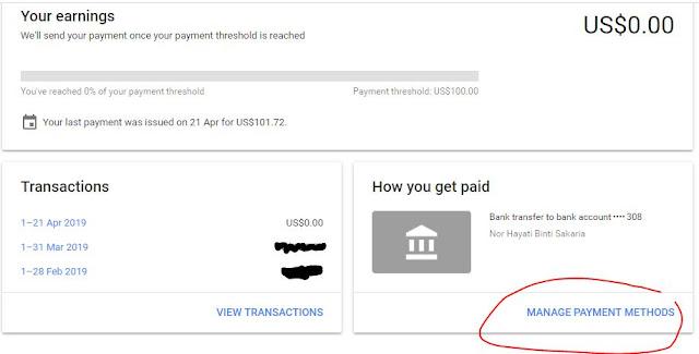 adsense, payment adsense, gaji dari adsense, gaji pertama dari adsense, cara setkan bayaran adsense melalui bank transfer, payment adsense via bank transfer, cara mudah untuk terima duit adsense,