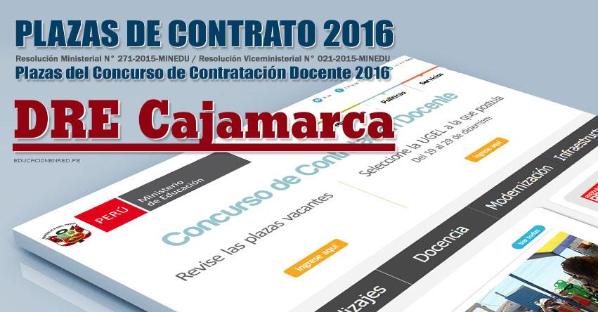 DRE Cajamarca: Plazas Vacantes Contrato Docente 2016 (.PDF) www.educacioncajamarca.gob.pe