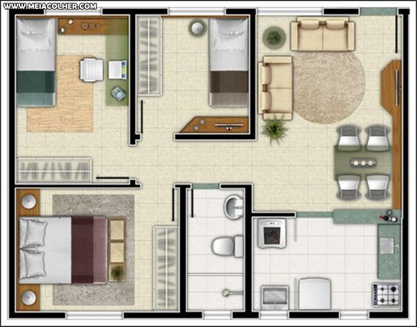 Casa de três quartos e um banheiro