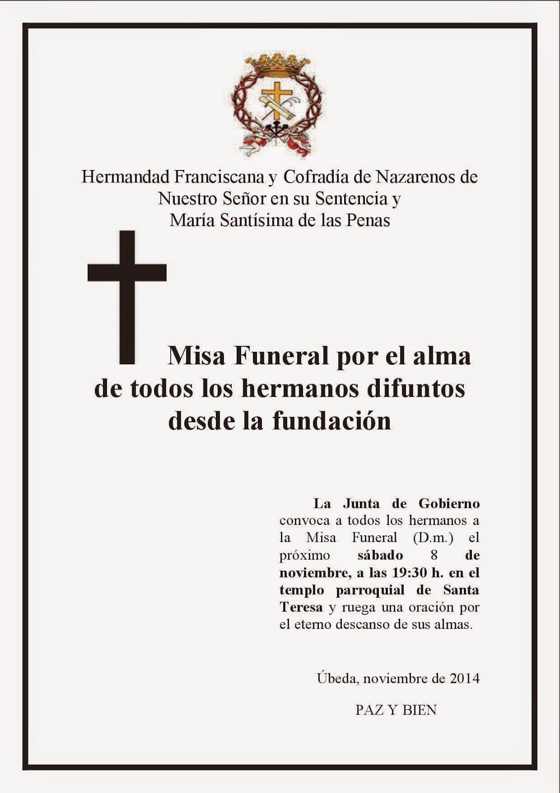 Hermandad De La Sentencia De úbeda Misa De Difuntos