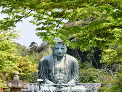 鎌倉大仏と新緑