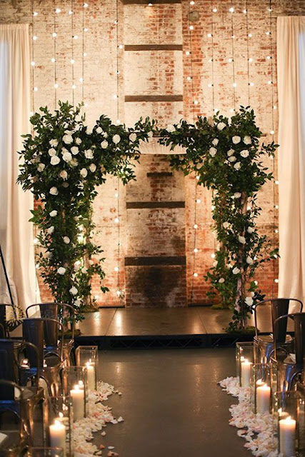 gold and green for industrial wedding decor ideas
