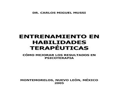 ENTRENAMIENTO EN  HABILIDADES  TERAPÉUTICAS LIBRO