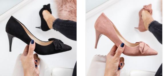 Pantofi Amilia negri, roz din piele eco intoarsa cu toc subtire