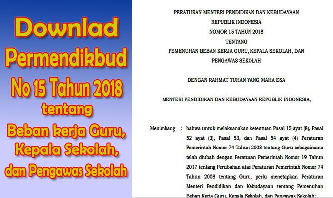 Download Permendikbud No  Tentang Pemenuhan Beban Kerja Guru Kepala Sekolah Dan