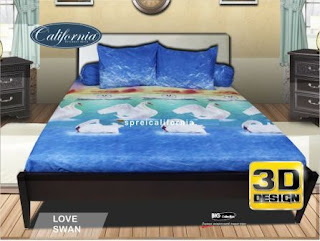 Sprei california 3D Love swan