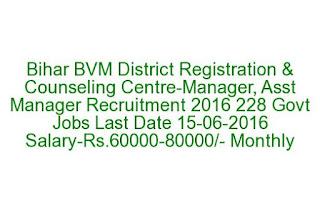 Bihar BVM District Registration & Counseling Centre-Manager, Asst Manager Recruitment 2016 228 Govt Jobs Last Date 15-06-2016