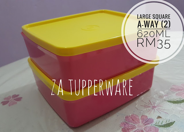 Tupperware Large Square Away (2) 620ml
