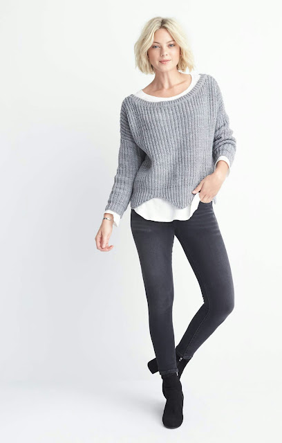 Winter fall Outfits  Sweater grey shirt  Black skinny jeans