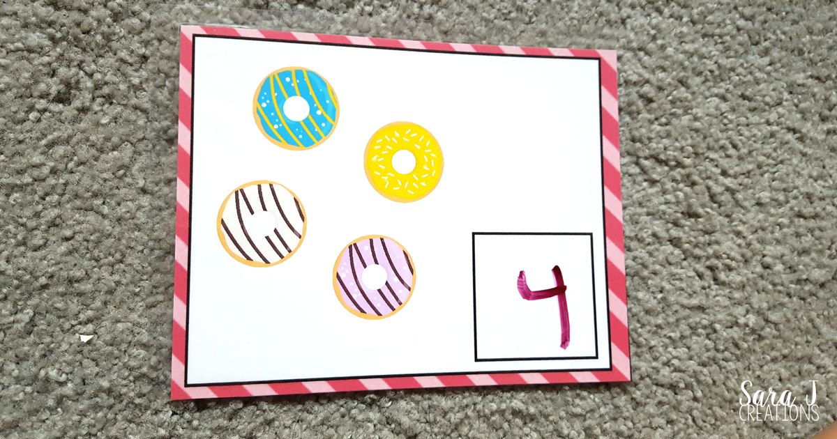 Super cute donut math and literacy activities that are perfect for preschool and kindergarten classroom centers or homeschool activities with little ones.