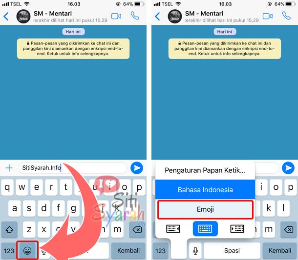 whatsapp di iPhone tidak ada emoticon