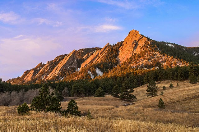 The Boulder flatirons in lat fall from Chautuaqua Park Colorado on Thanksgiving day