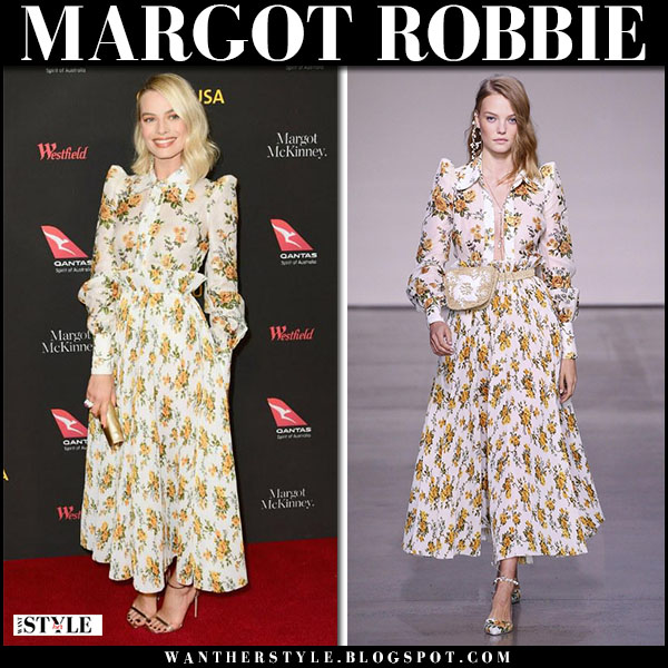 Margot Robbie in white floral print matching shirt and skirt zimmermann red carpet fashion january 27