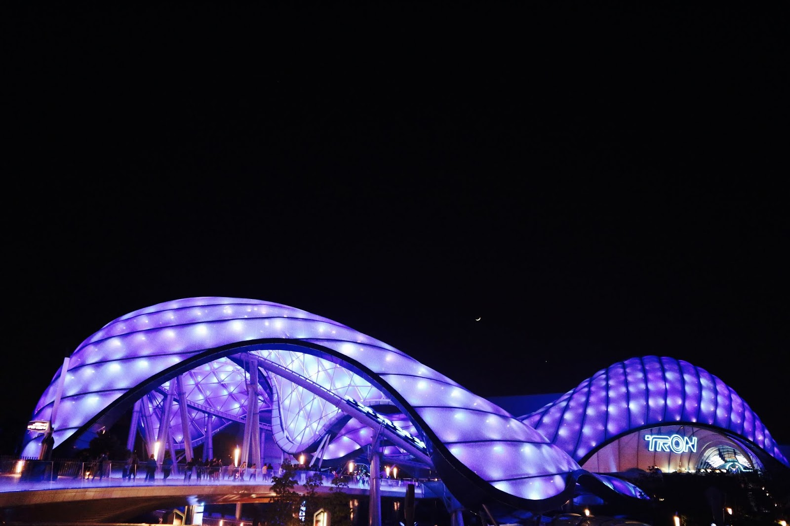 Image Of TRON Lightcycle Power Run Exterior Night Shanghai Disneyland