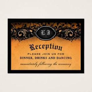Orange & Black Wedding Gothic Reception Cards