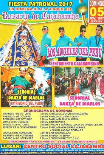 FIESTA PATRONAL 2017.- CENTRO SOCIAL CAJABAMBA 05 DE NOVIEMBRE