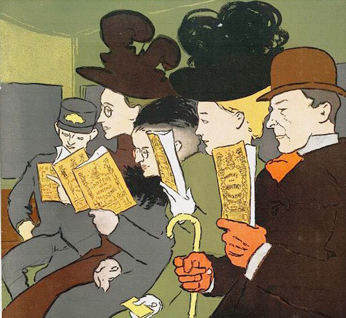 Illustration showing readers on a train, c. late 19th century