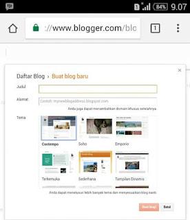 Halaman Pendaftaran Blog di Blogger Lewat HP