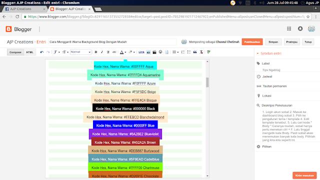 Cara Mengganti Warna Background Blog Dengan Mudah