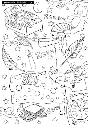 A coloring page about dreams and sleep walkers / Värityskuva unista ja unissakävelijöistä