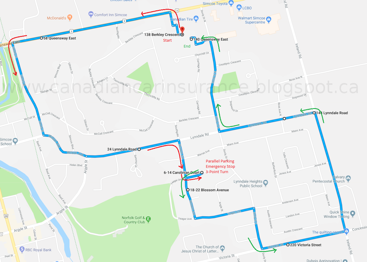 Simcoe G2 Road Test Route Maps