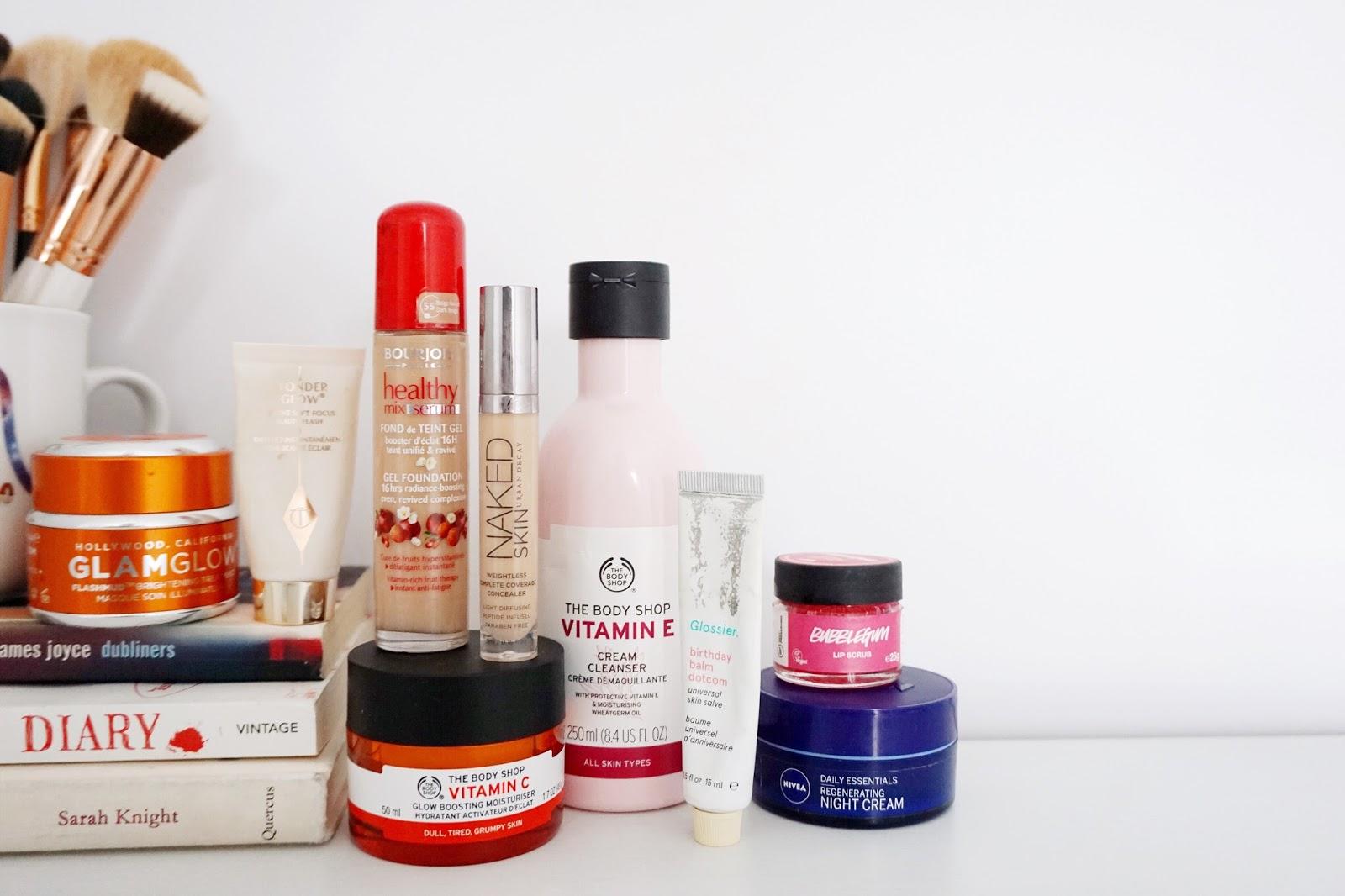 Glamglow, Lush, Glossier, The Body Shop, Charlotte Tilbury, Bourjois, Urban Decay, Nivea