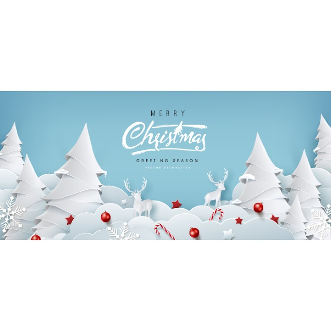 Paper Merry christmas background free vector