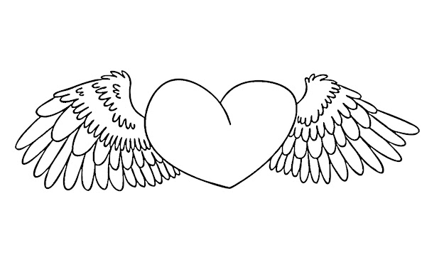 Heart Coloring Pages With Wings