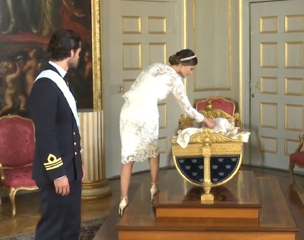Swedish Prince Carl Philip and Princess Sofia Hellqvist with their son Prince Alexander, Duke of Södermanland, baptism of Prince Alexander