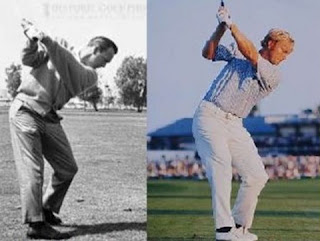 Arnold Palmer and Jack Nicklaus at top of backswing