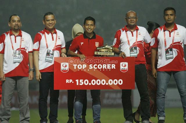 Top Skorer Liga 2 Indonesia Tahun 2018 Milik Indra Setiawan