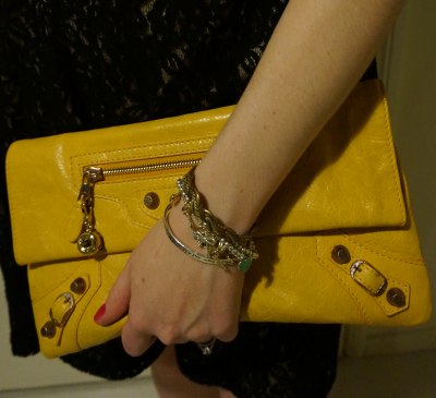 balenciaga mangue mago yellow envelope clutch