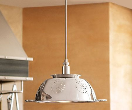 Lámpara de cocina con un colador
