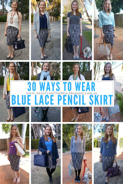 30 ways to wear a blue lace pencil skirt #30wears | awayfromtheblue blog