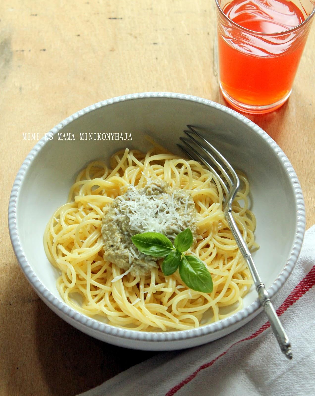 Spagetti olívabogyópestóval