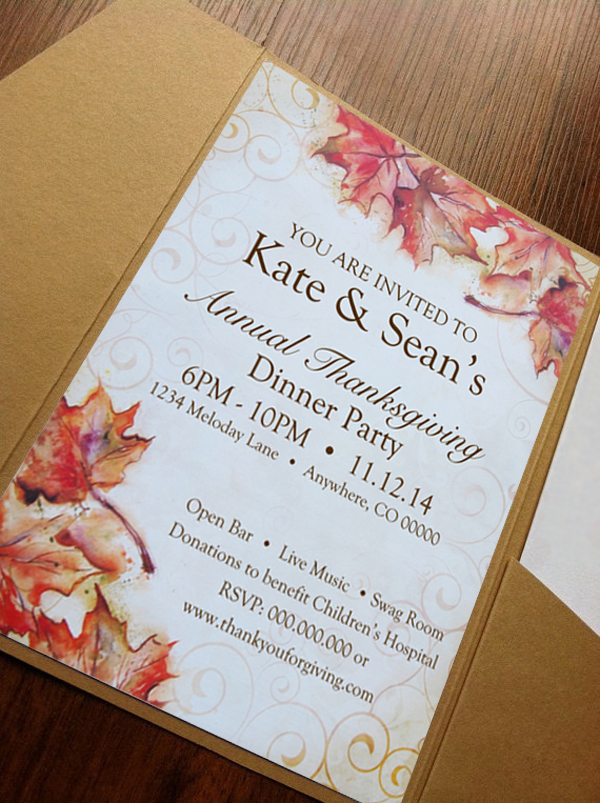 An Invitation letter using Vintage Fall Letter Paper from Paper Direct designed by Noami Foster.