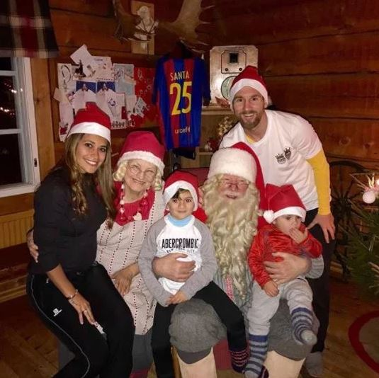 Lionel Messi Shares Christmas Photo With His Family As They Pose With Santa Claus