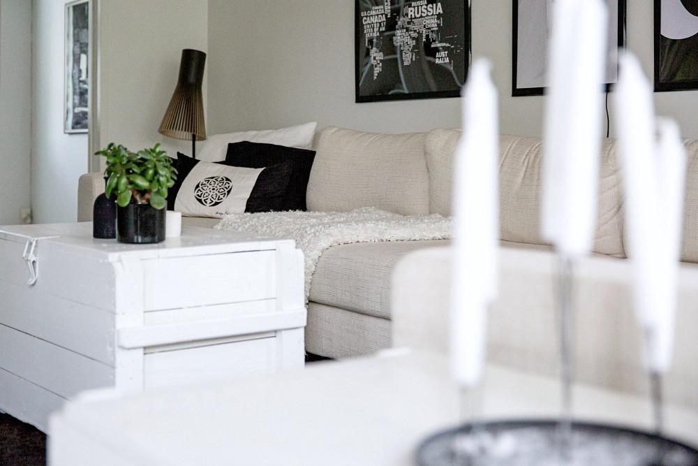 Koti, sisustus, sisustaminen, olohuone, musta-valkoinen