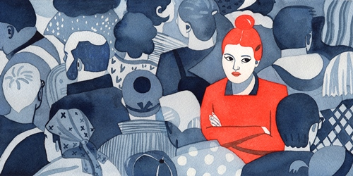 Image description: a drawing that shows one red woman lonely in a crowd of blue people