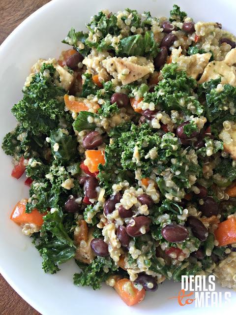 Deals to Meals, Recipe: Salad, Recipe: Healthy, Recipe: Food Storage, Healthy Southwestern Kale and Quinoa Salad, cilantro dressing