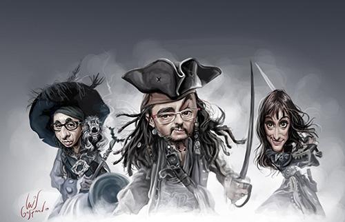 """Caricaturas de """"Andreu Buenafuente, Berto Romero y Ana Morgade"""" por Luis Gaspardo"""